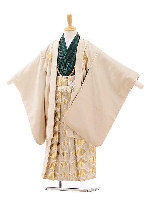 七五三(5.6歳男袴)5403 花わらべクリームゴールド紋付×ベージュ袴