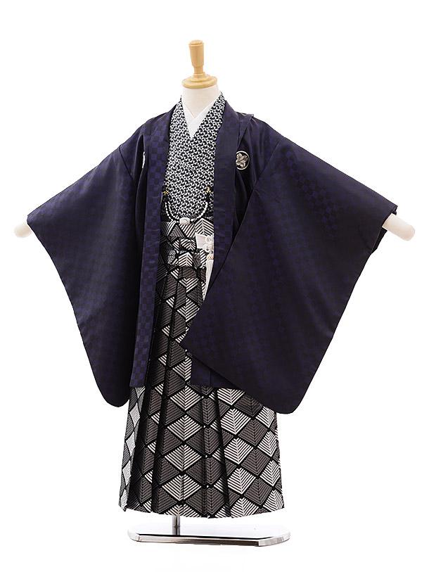 七五三(5.6歳男袴)5404 花わらべ パープル 紋付×黒地シルバー袴