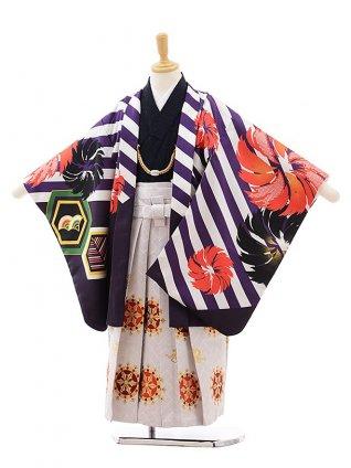 七五三(5.6歳男袴)5405 花わらべ パープル 斜めストライプ×白地袴