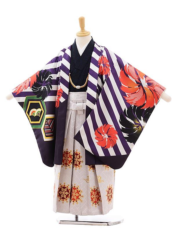 七五三(5.6歳男袴)5405 花わらべ パープル 斜めストライプ