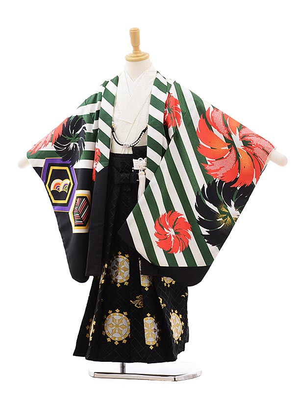 七五三(5.6歳男袴)5406 花わらべ グリーン 斜めストライプ×黒地袴