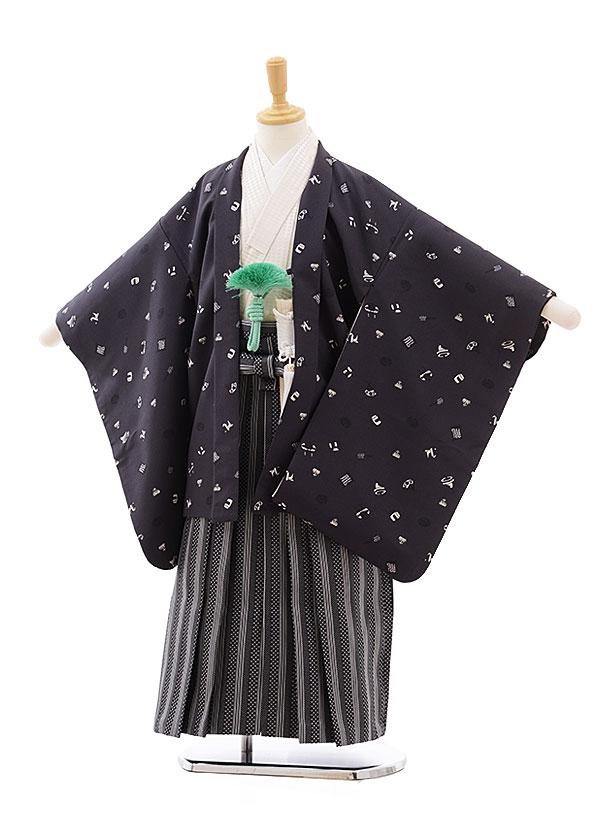 七五三(5.6歳男袴)5407ぷちぷり グレーおもちゃ箱×黒ストライプ袴