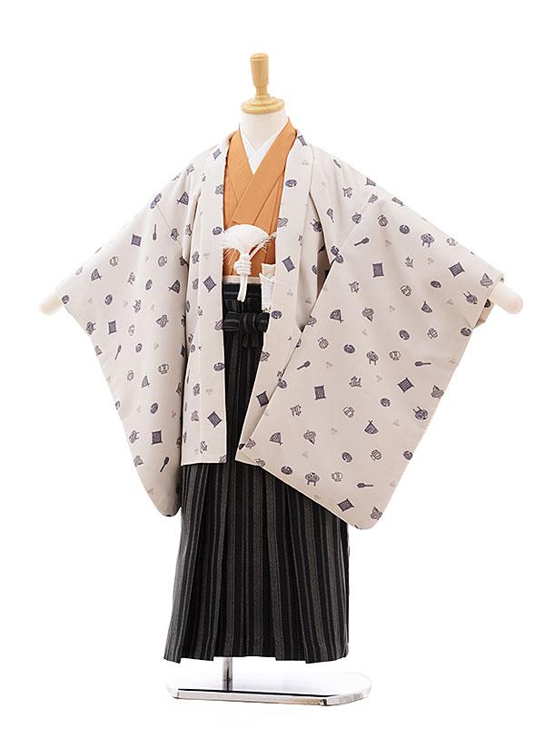 七五三(5.6歳男袴)5408ぷちぷり ベージュおもちゃ箱×黒縞袴