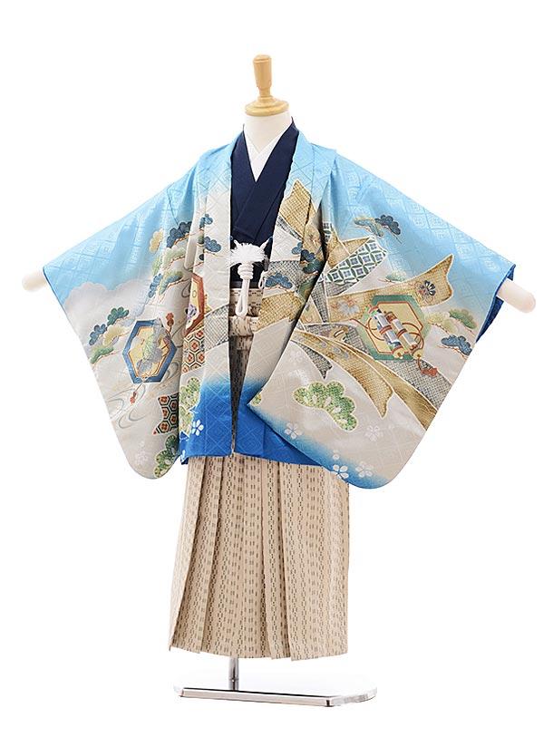 七五三(5.6歳男袴)5413 水色 束ねのしに鷹×ベージュ袴
