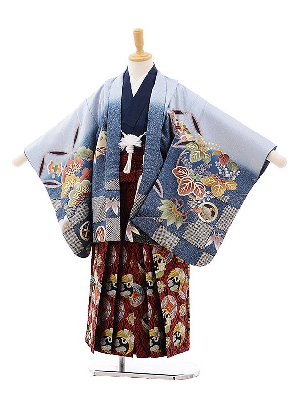 七五三(5.6歳男袴)5414 ブルーグレーゴールド 松に鷹×赤地袴