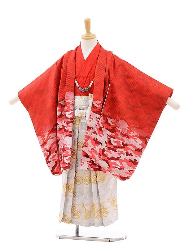 七五三(5.6歳男袴)5418 赤地 カモフラージュ ×白ゴールド袴