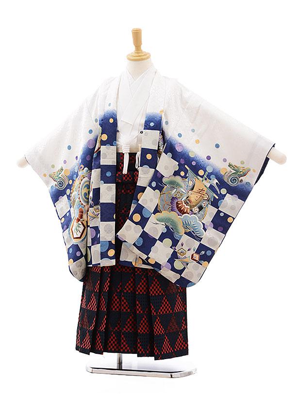 七五三(5.6歳男袴)5419 白地 市松にかぶと×赤紺袴