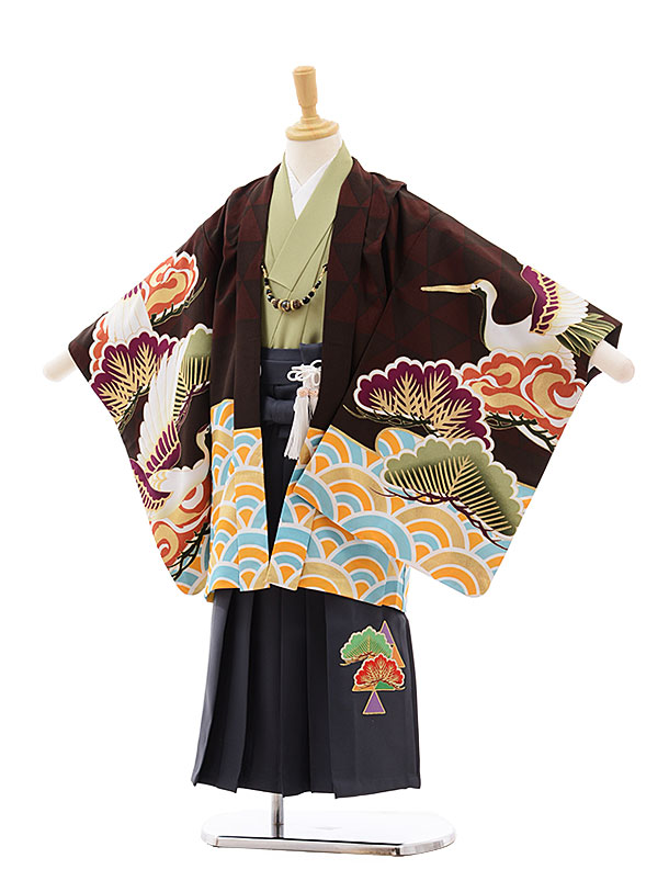 かんたん七五三(5歳男袴)5427 ぷちぷり エンジ 茶 波に鶴×グレー袴
