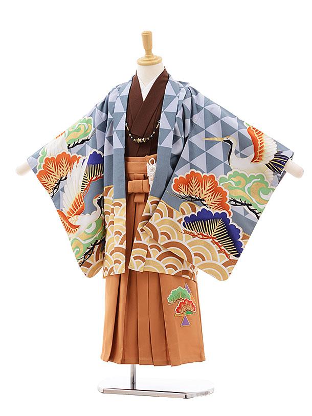 かんたん七五三(5歳男袴)5429 ぷちぷり ブルーグレー 波に鶴×黄土色袴