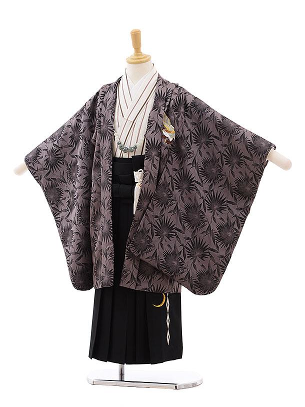 七五三(5歳男袴)5432 パープル ブラウン 鷹 ししゅう×黒袴