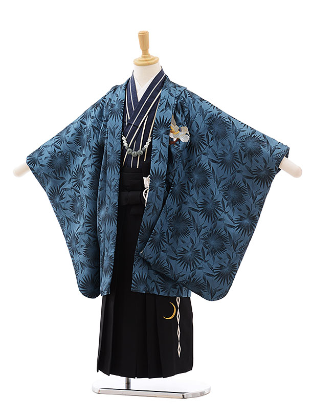 七五三(5歳男袴)5433 グリーンブルー 鷹 ししゅう×黒袴