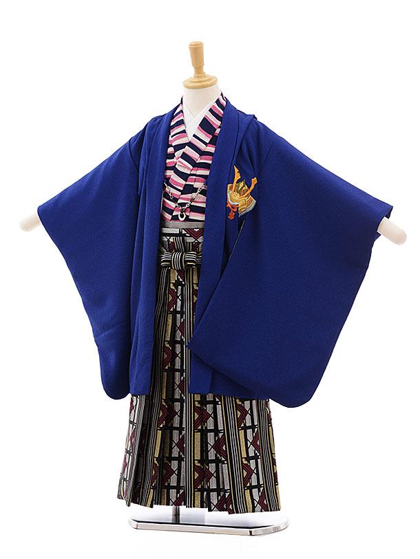 簡単七五三(5歳男袴)5434 ブルー 兜 ししゅう×シルバーゴールド袴