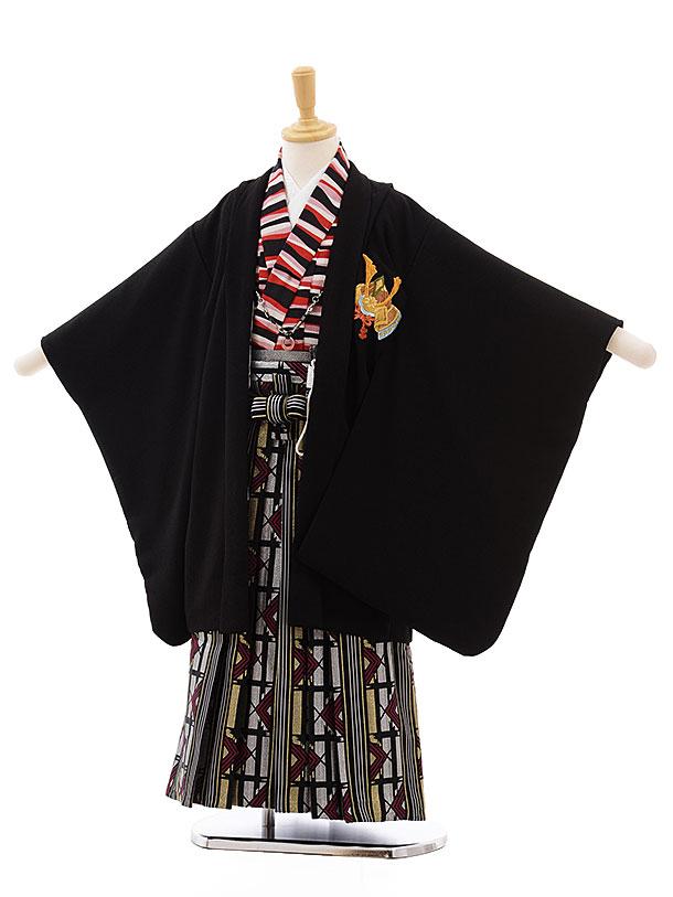 簡単七五三(5歳男袴)5435 黒地 かぶと ししゅう×シルバーゴールド袴