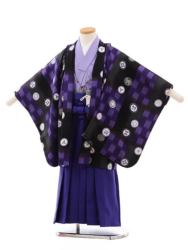 七五三(5.6歳男袴)5436 式部浪漫 黒 パープル 丸紋