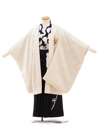 七五三レンタル(5歳男児袴)5439 クリーム地 ラメ 小槌 ししゅう×黒袴
