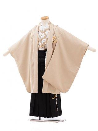七五三レンタル(5歳男児袴)5440 ベージュ地 ラメ 小槌 ししゅう×黒袴