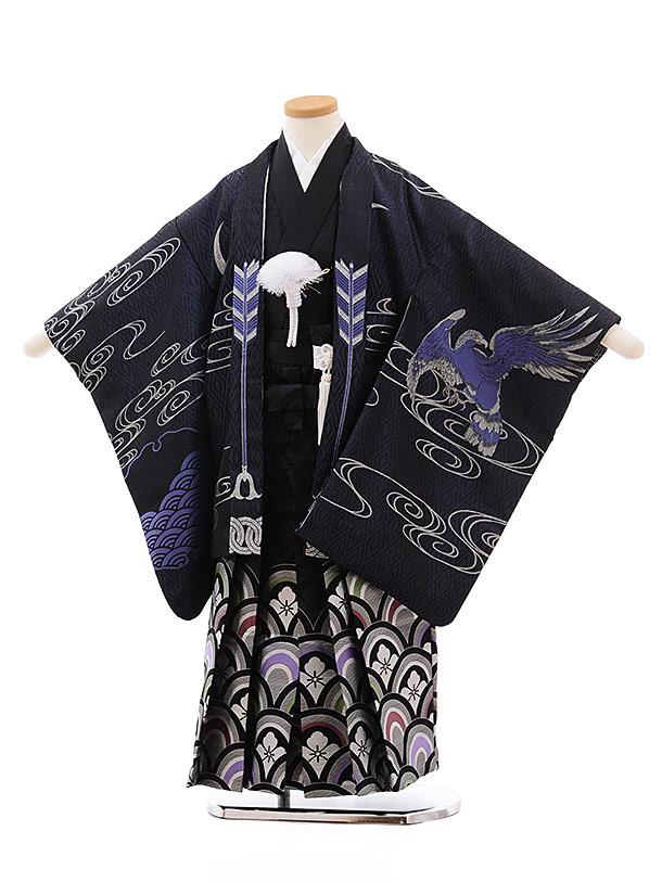 七五三レンタル(5.6歳男児袴)5441 おりびと 紺地 松に鷹×黒波袴