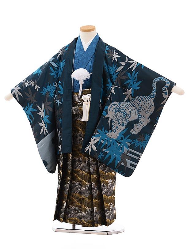七五三(5.6歳男児袴)5442おりびとブルー地 もみじに虎×黒ゴールド袴