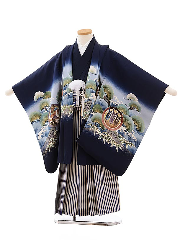 七五三レンタル(5.6歳男児袴)5446 (正絹)紺地 宝舟に鷹×紺縞袴