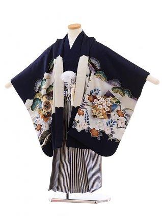 七五三レンタル(5.6歳男児袴)5447 (正絹)紺