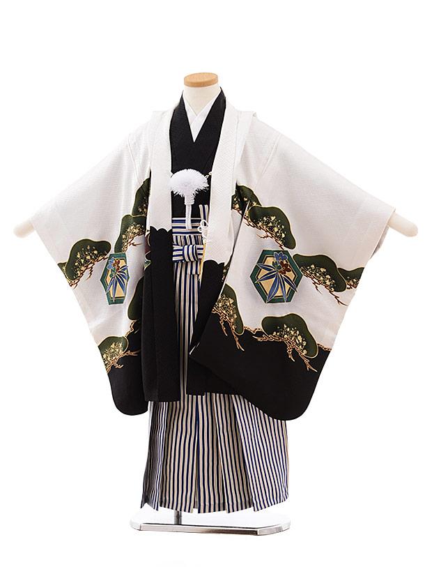七五三レンタル(5.6歳男児袴)5448 (正絹)白地裾黒のしに鷹×紺縞袴