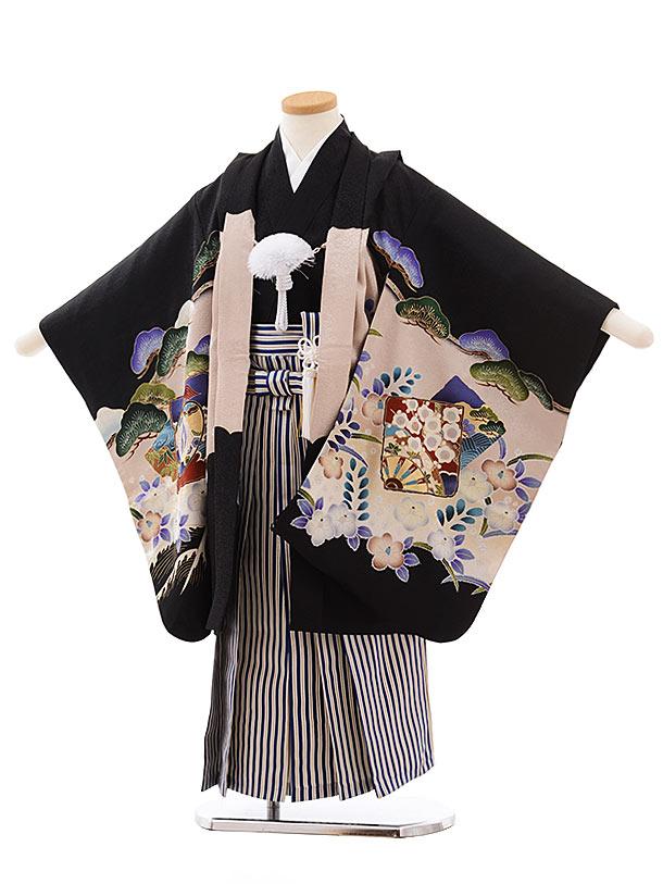 七五三レンタル(5.6歳男児袴)5449 (正絹)黒地 波に鷹×紺縞袴