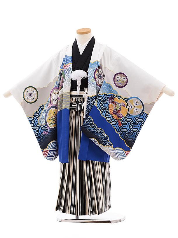 七五三レンタル(5.6歳男児袴)5450 式部浪漫 白地 鷹紋×ベージュ縞袴