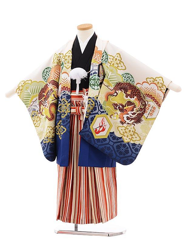 かんたん七五三(5.6歳男児袴)5452 式部浪漫 クリーム地 龍×赤縞袴