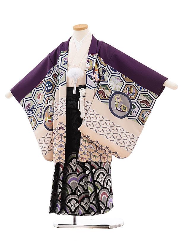 七五三(5.6歳男児袴)5453 式部浪漫パープル地亀甲丸紋×黒シルバー袴