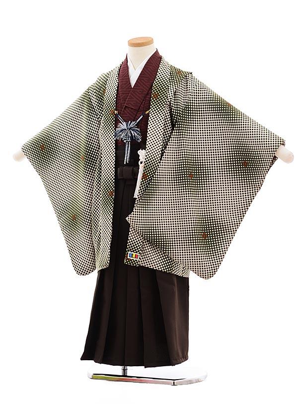 七五三(5.6歳男児袴)5455LILLIベージュモスグリーン市松×濃茶袴