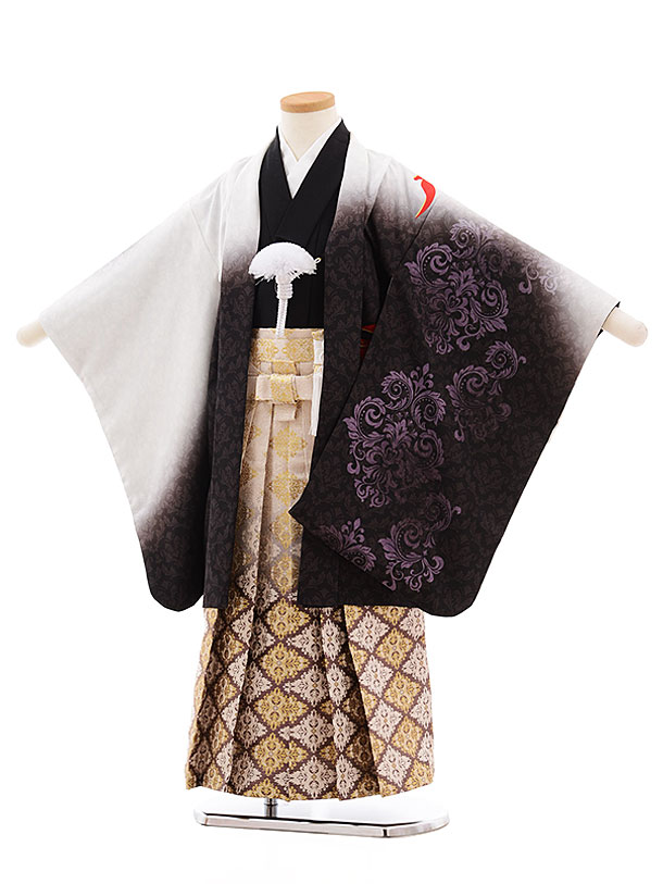 七五三(5.6歳男児袴)5456 白ぼかし フェニックス×ベージュ袴