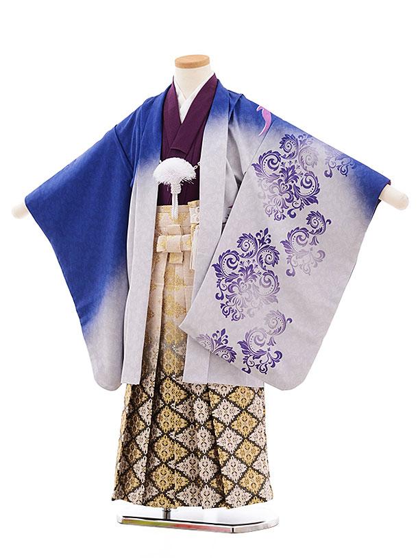 七五三(5.6歳男児袴)5457 ブルーぼかし フェニックス×ベージュ袴