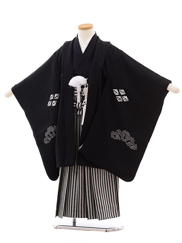 七五三(5.6歳男児袴)5459 (高級正絹)黒地 絞り 亀甲 刺繍×黒縞袴