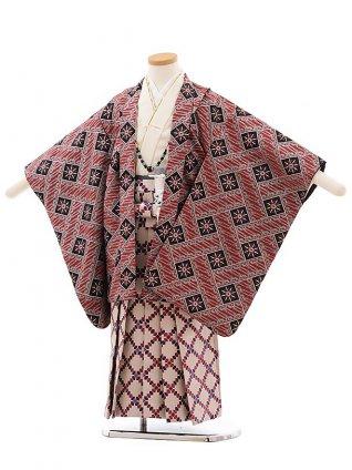 簡単七五三(5歳男袴)5460 おりびと 黒赤 変わりチェック×ベージュ地袴