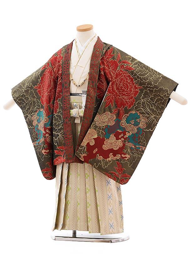 簡単七五三(5歳男袴)5461おりびと 黒ゴールド 赤獅子×ベージュ地袴