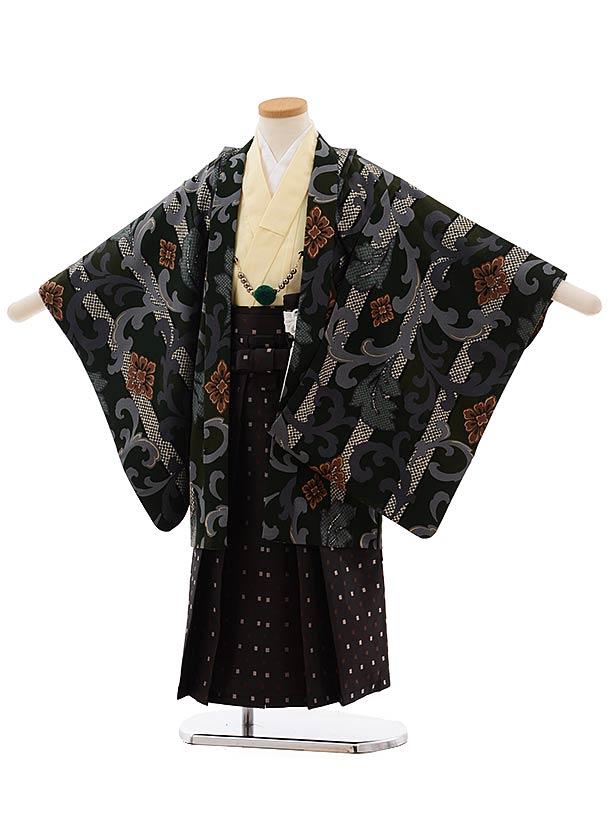 七五三(5歳男児袴)5465 にこるん ダークグリーン×濃茶袴