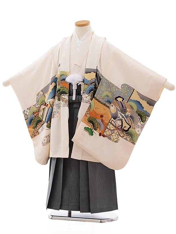 七五三(5歳男児袴)5466 (正絹)クリーム地 かぶと×ダークグリーン縞袴