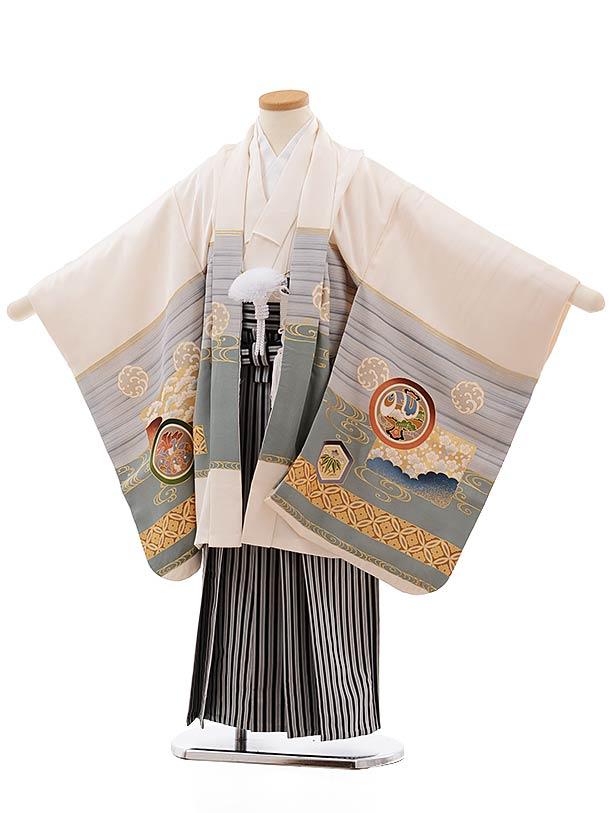 七五三(5歳男児袴)5467 (正絹)クリーム地 鷹×黒白縞袴
