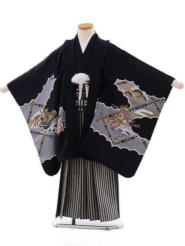 七五三(5歳男児袴)5468 (正絹)手描き友禅 紺地 小槌×黒白縞袴