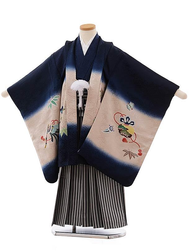 七五三(5歳男児袴)5469 (正絹) 紺地 鷹×黒白縞袴
