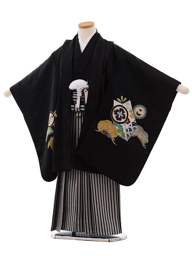 七五三(5歳男児袴)5471 (高級正絹) 黒地 松に丸紋×黒白縞袴