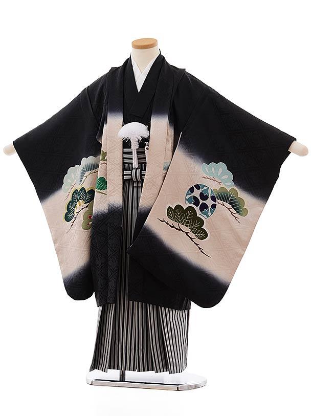 七五三(5歳男児袴)5472 (高級正絹) 黒地 二羽鷹×黒白縞袴