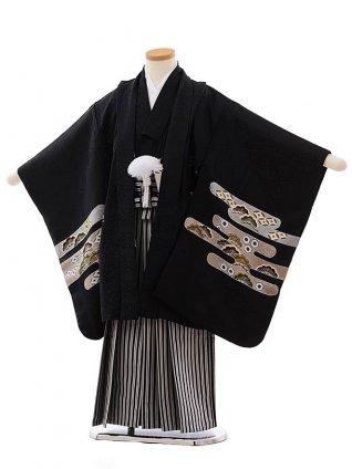 七五三(5歳男児袴)5473 (高級正絹) 黒地 かすみにかぶと×黒白縞袴