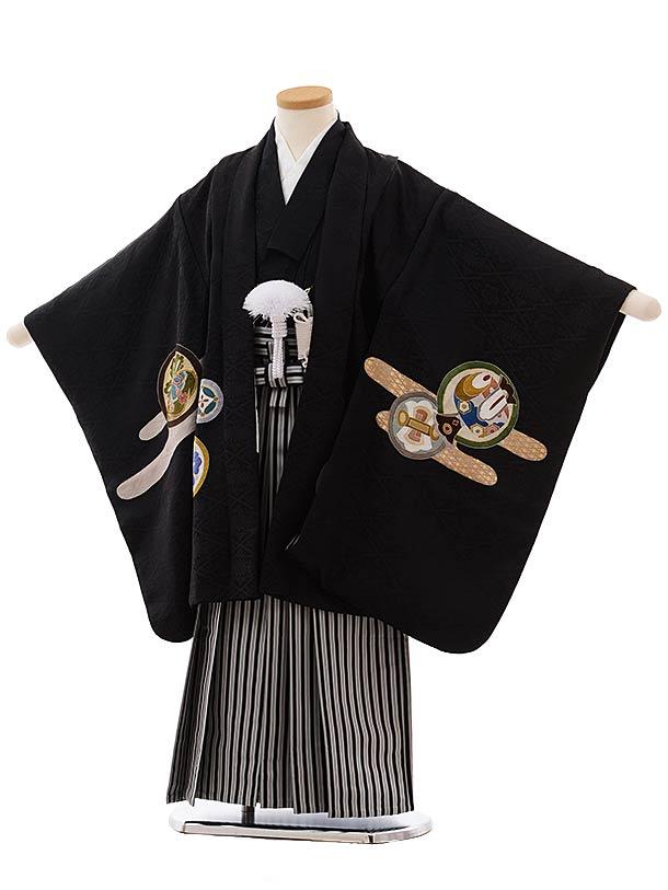 七五三(5歳男児袴)5474 (高級正絹) 黒地 かぶとに丸紋×黒白縞袴