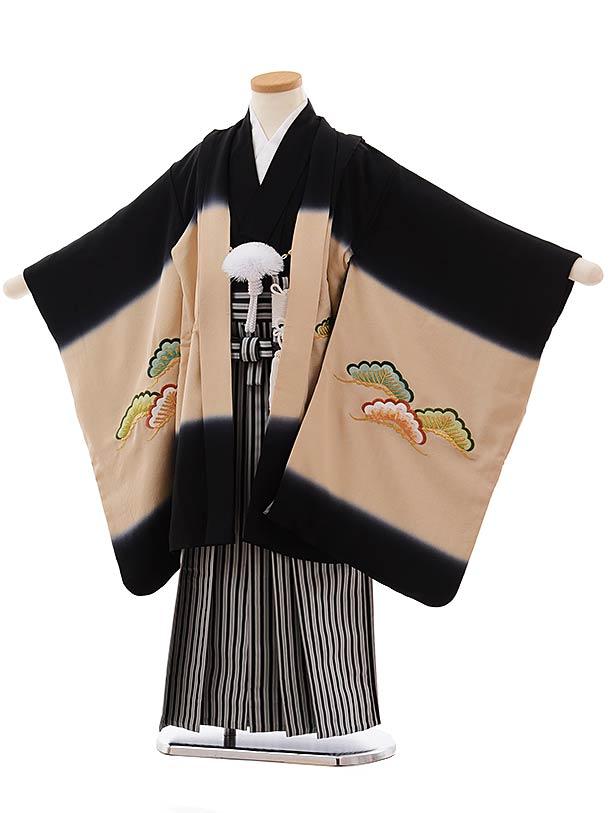 七五三(5歳男児袴)5475 (高級正絹)黒地 富士に新幹線刺繍×黒白縞袴
