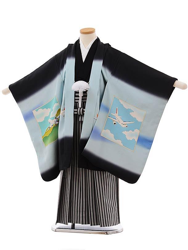 七五三(5歳男児袴)5476 (高級正絹)黒地 飛行機×黒白縞袴