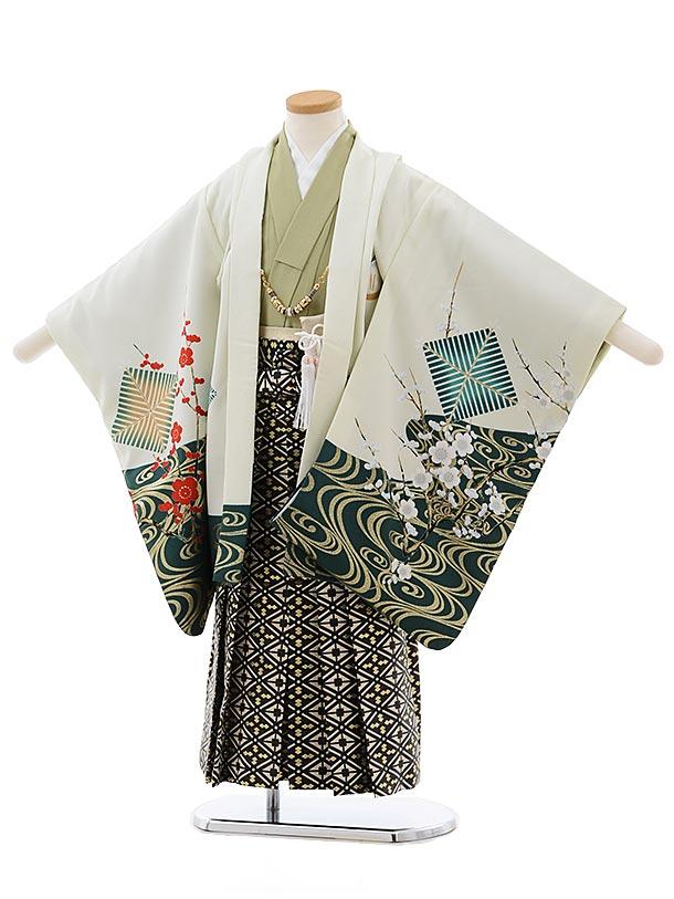 七五三レンタル(5歳男児袴)5480 うすグリーン地 鷹に梅×ベージュ地袴