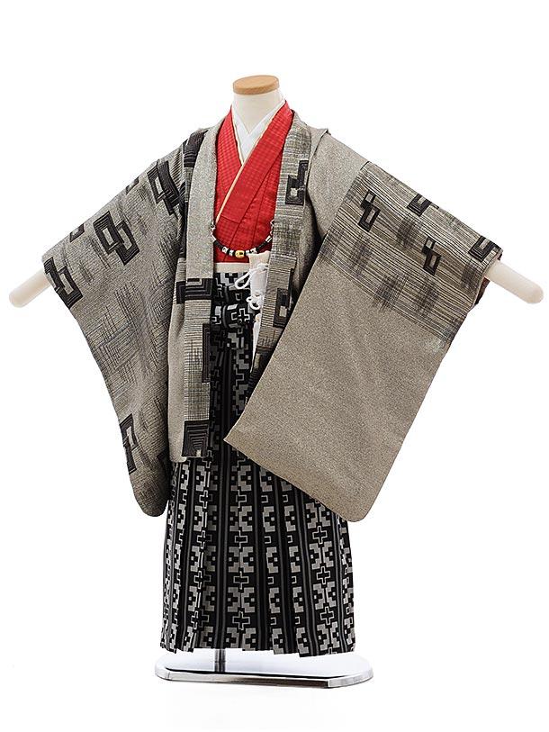 かんたん七五三レンタル(5歳男児袴)5483 おりびと 銀ラメ 変わり柄×黒地袴