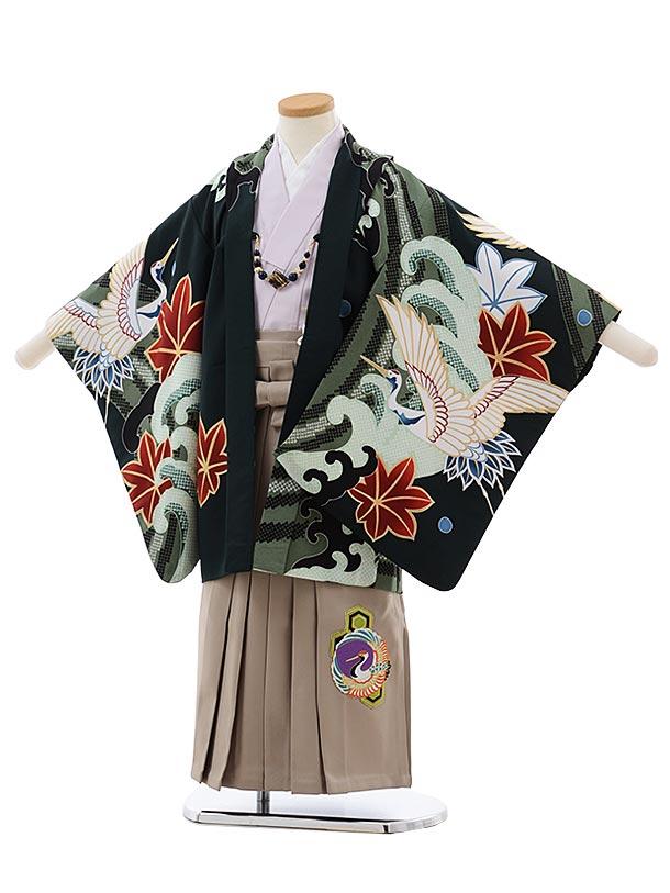 かんたん七五三レンタル(5歳男袴)5484 ダークグリーン 波に鶴×カーキ袴