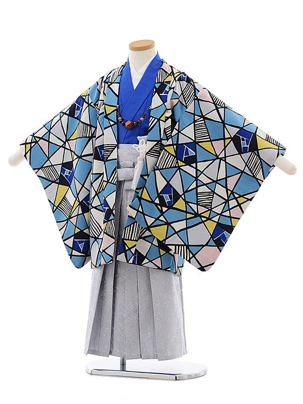 七五三レンタル(5歳男児袴)5485 ステンドグラス柄 ブルー系×薄灰袴